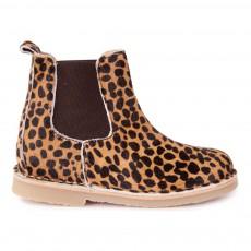 Bottines Chelsea Leopard Beige