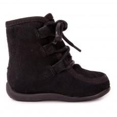 Boots Lacets Fourrure Noir