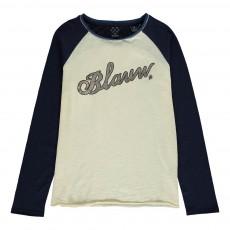 "T-shirt Bicolore ""Blauw"" Ecru"
