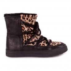 Boots Cuir Fourrées Leopard Beige