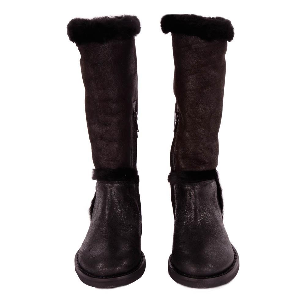 bottes cuir bi mati re fourr es noir gallucci chaussures. Black Bedroom Furniture Sets. Home Design Ideas