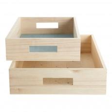 Plateaux en bois imprimés graphiques - Set de 2 Naturel