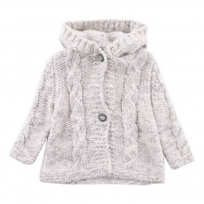 Cardigan Capuche Pompon Chris  Gris clair
