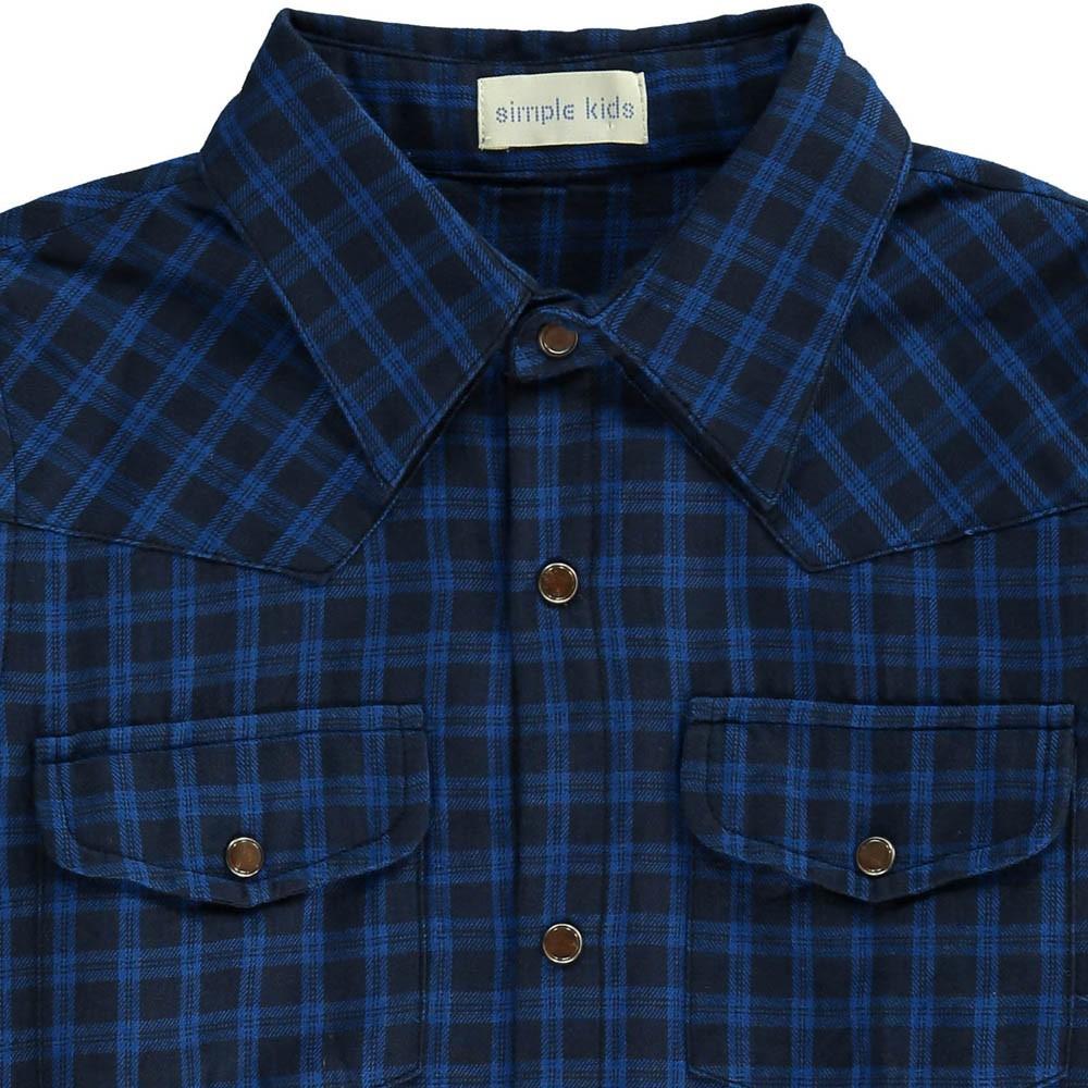 chemise carreaux georges bleu simple kids mode ado gar on smallable. Black Bedroom Furniture Sets. Home Design Ideas