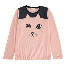 T-Shirt Bicolore Cat Rose pâle