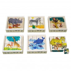 Puzzle 16 cubes Animaux sauvages