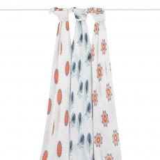 Langes Mela en fibres de bambou motifs oranges et bleus - Pack de 3