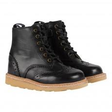 Boots Bout Fleuri Cuir Sidney Noir