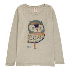 T-Shirt Chouette Sequins Gris clair