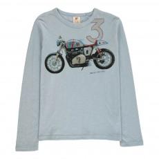 T-Shirt Motocross Bleu ciel