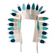 Coiffe d'indien en feutre Bleu turquoise