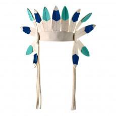 Coiffe d'indien courte en feutre Bleu turquoise