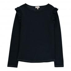 T-Shirt Volants Epaules Eugenie Bleu marine