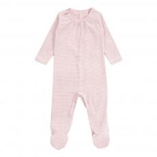 Pyjama Pieds Rayé Coton Bio Rose