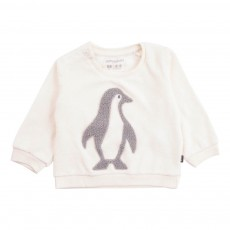 Sweat Velours Pingouins Ecru