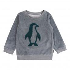 Sweat Velours Pingouins Bleu gris