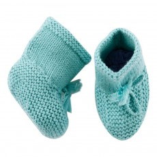 Chaussons Merinos Lacets Bleu turquoise