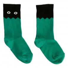 Chaussettes Bicolores Monstre Vert