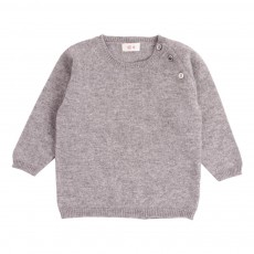 Pull Raglan Cachemire Boutons Epaule Gris chiné