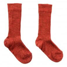 Chaussettes Basses Côtelées Rouge brique