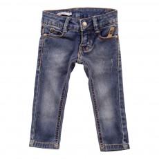 Jeans Slim Délavé Bleu
