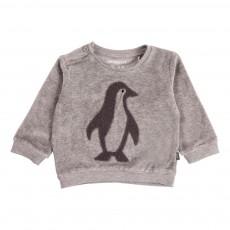 Sweat Velours Pingouins Gris