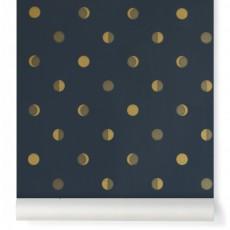 Papier peint Croissants de Lune - Encre Bleu nuit