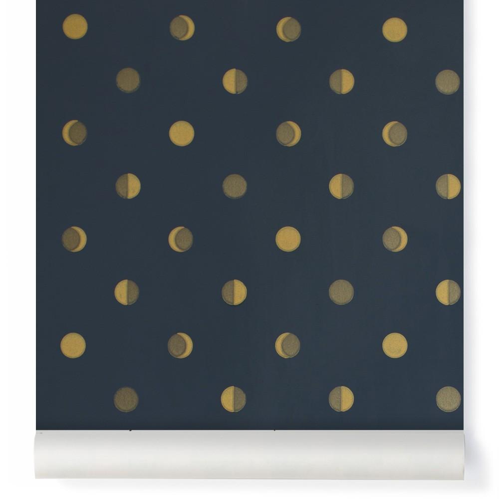 papier peint croissants de lune encre bleu nuit bartsch. Black Bedroom Furniture Sets. Home Design Ideas