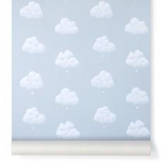 Papier peint Nuages de Coton - Bleu Fumée
