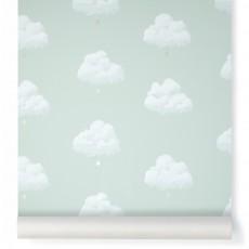 Papier peint Nuages de Coton - Vert d'eau