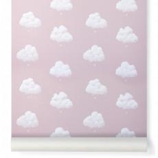Papier peint Nuage de coton - Rose santal