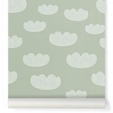 Papier peint Cloud - Vert menthe