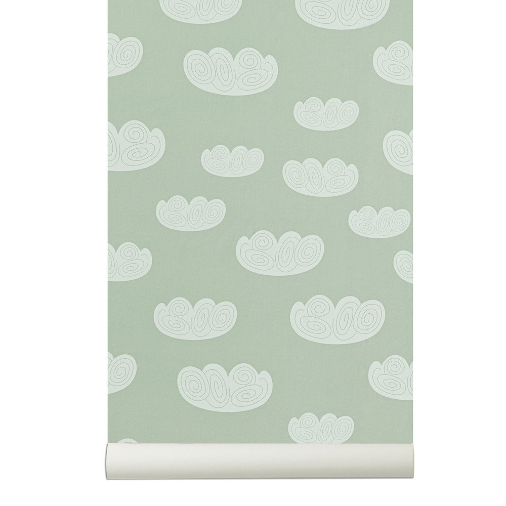Papier peint cloud vert menthe ferm living d coration smallable - Ferm living papier peint ...