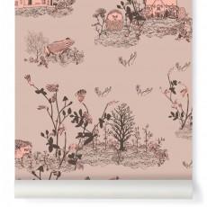 Papier peint Woodland - Rose poudre