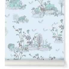 Papier peint Woodland - Bleu gris