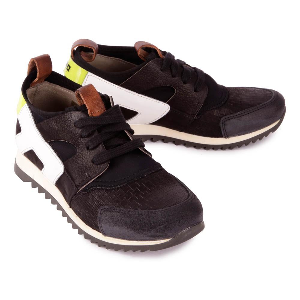 baskets cuir noir momino chaussures enfant smallable. Black Bedroom Furniture Sets. Home Design Ideas