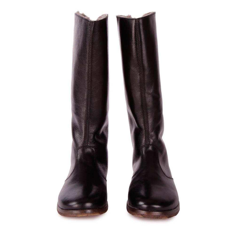 bottes cuir fourr es zip arri re noir momino chaussures. Black Bedroom Furniture Sets. Home Design Ideas