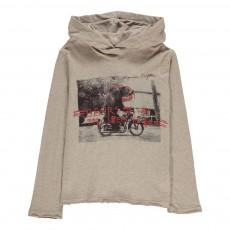 T-Shirt Capuche Ours Motard Gris clair