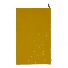 Torchon traditionnel surteint en toile de coton à Pois or 50x80 cm Jaune moutarde
