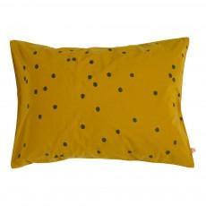 Taie d'oreiller Odette à Pois gris Jaune moutarde