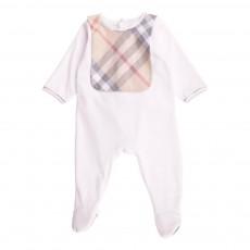 Pyjama Velours Bavoir Tartan Blanc