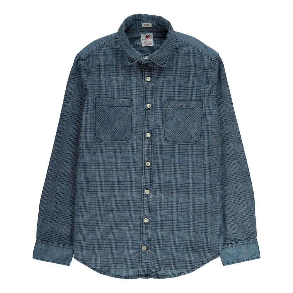 chemise carreaux poches bleu ao76 mode ado gar on smallable. Black Bedroom Furniture Sets. Home Design Ideas