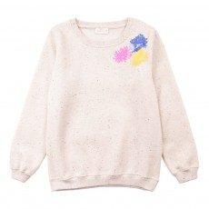 Sweat Sequins Flower Ecru chiné