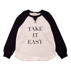 "Sweat Bicolore ""Take It Easy"" Bleu marine"