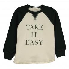 "Sweat Bicolore ""Take It Easy"" Vert sapin"