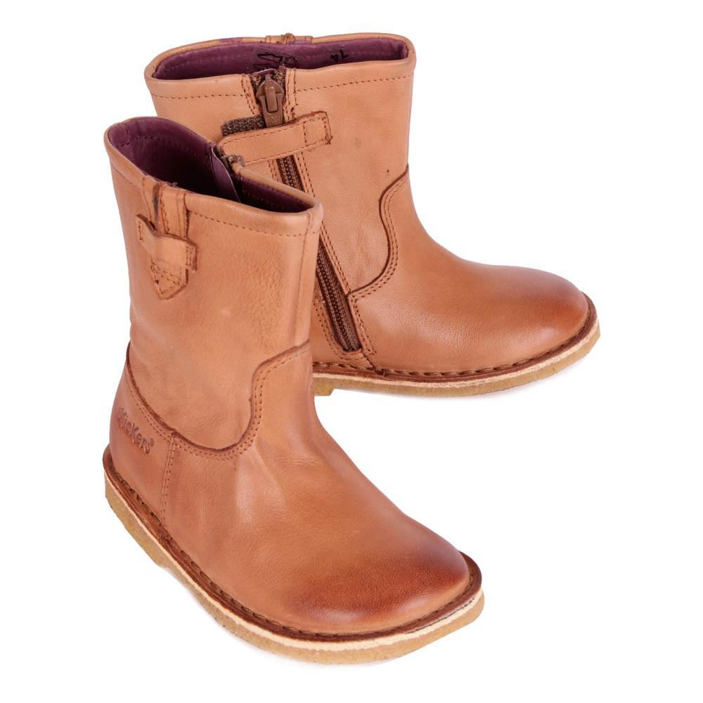 boots cuir zipp es cressona camel kickers chaussures enfant smallable. Black Bedroom Furniture Sets. Home Design Ideas