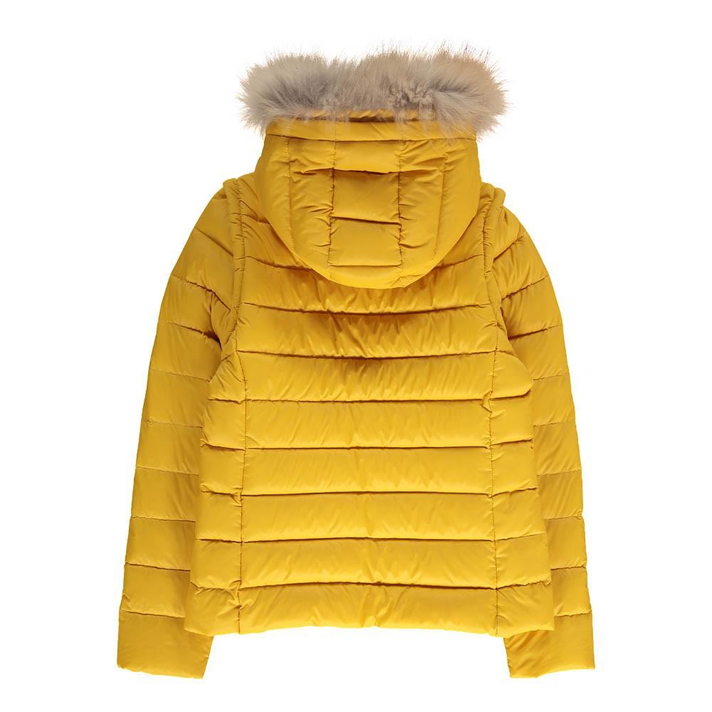 doudoune capuche amovible en fourrure little olga jaune gertrude mode ado smallable. Black Bedroom Furniture Sets. Home Design Ideas