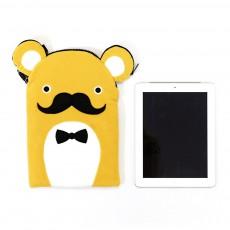 Protège tablette moustache 32 x 21 cm Jaune