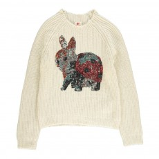 Pull Mohair Lapin Sequins Ivoire