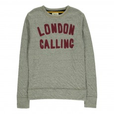"Sweat ""London Calling"" Sokaw Gris chiné"